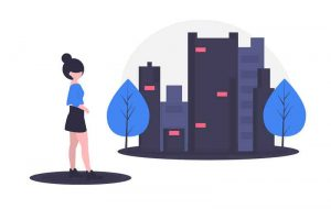 an abstract illustration to convey a woman traveling on foot in a city