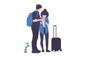 an illustration of two travelers using a mobile phone app