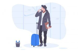 an illustration of a man waiting for an airport transportation shuttle